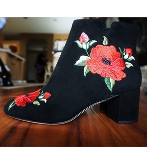 Kate Spade Black Suede Floral Embroidered Boots